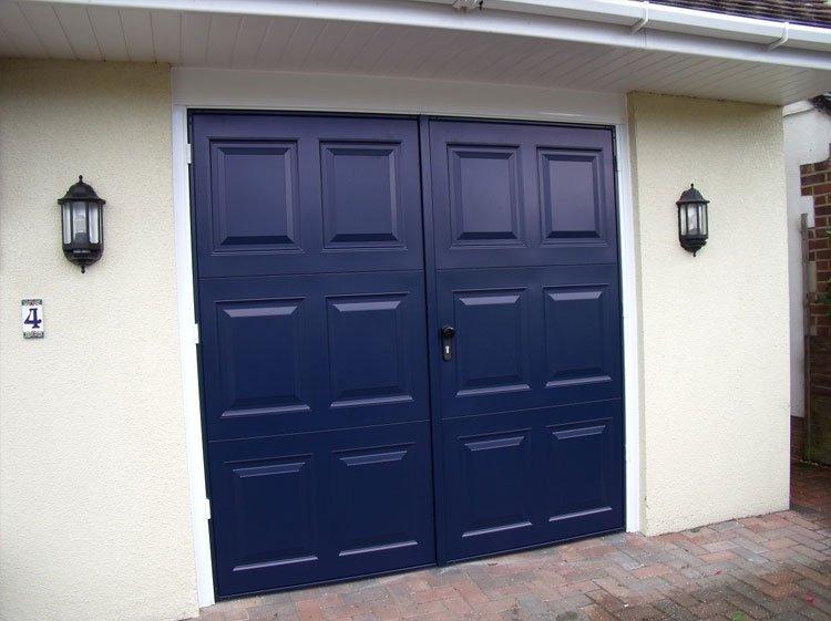 Blue entrance doors