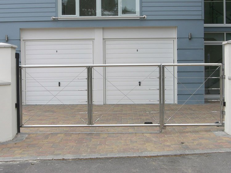 Ornamental polished steel entrance gates