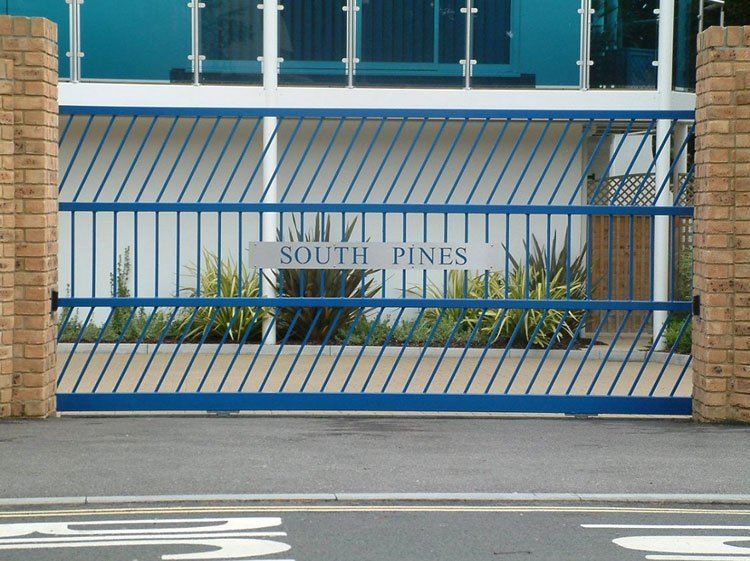 Blue entrance gates