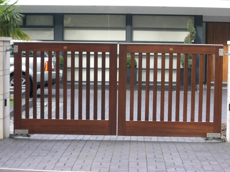 Open slatted wooden gate