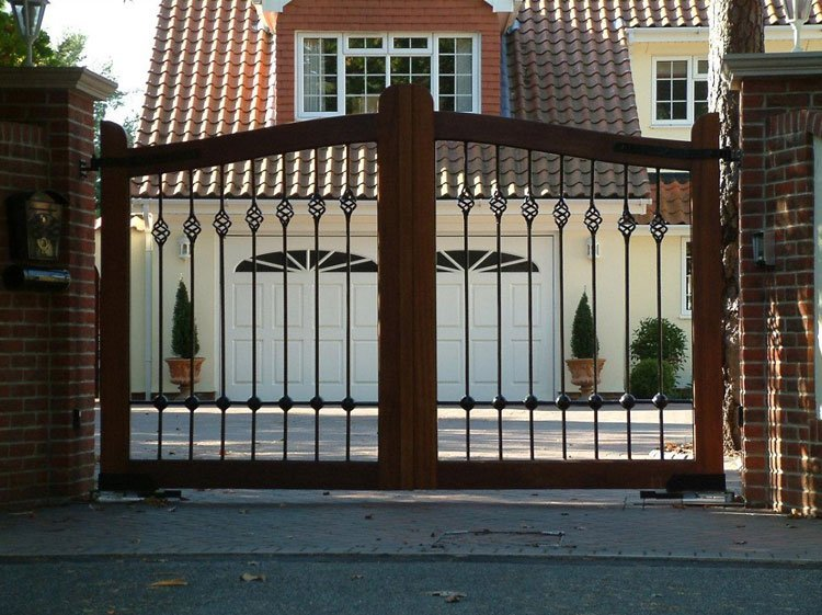 Wood and metal ornamental gates