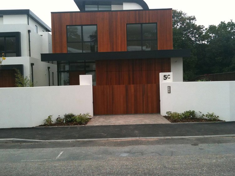 Contemporary wooden entrance gates
