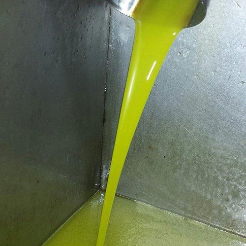 L'olio di oliva che parte da un tubo d'acciaio in un decanter di metallo
