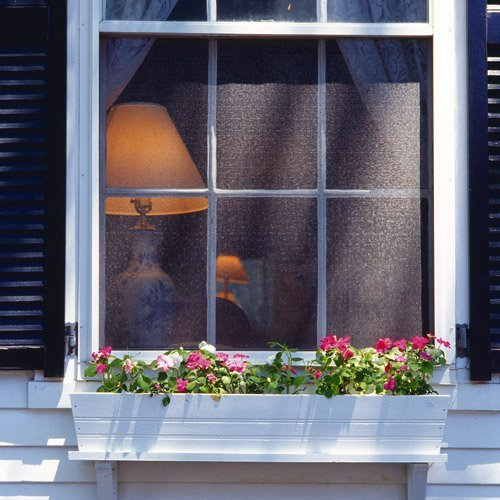house window with flowerbox