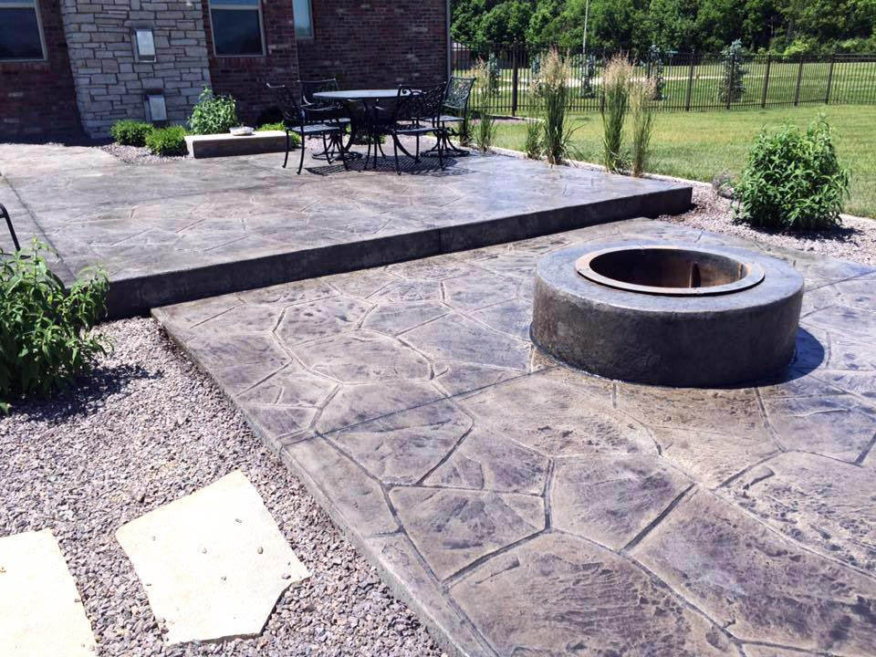 Stamped Concrete - Firepit & Concrete Patio - Morton, IL