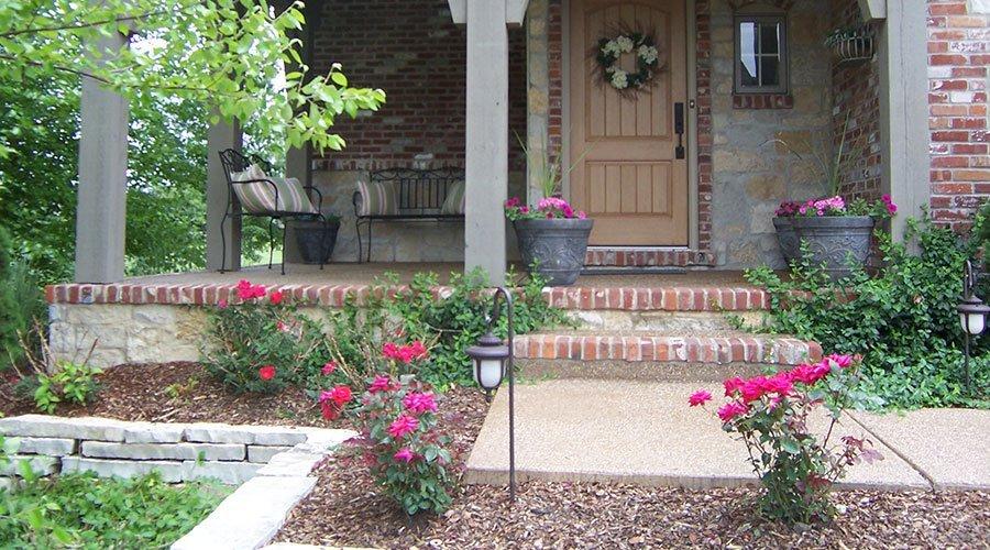 Decorative Concrete Porch - Brick Border - Peoria, IL