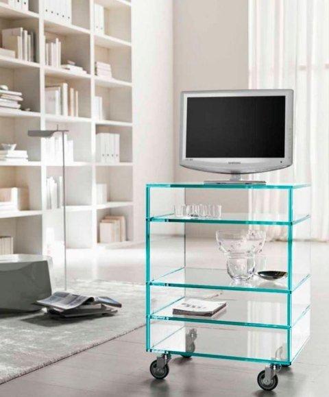 contenitore e porta tv in vetro con ruote