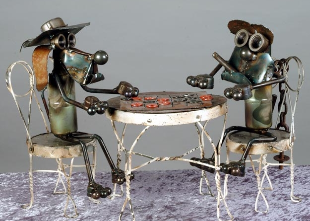 Recycled art of two dogs playing poker