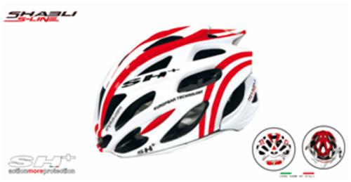 casco bici bianco con strisce rosse