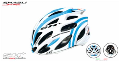 casco bici bianco con strisce azzurre