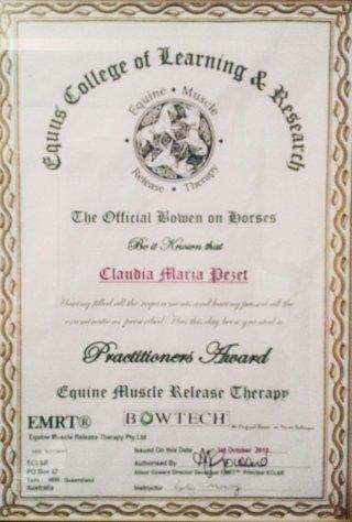 Diploma EMRT Bowtech Claudia Pezet