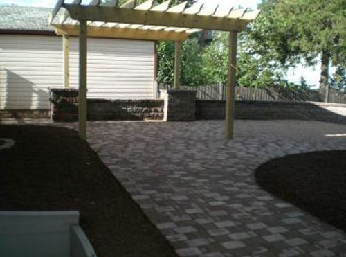 pavered patio and pergola