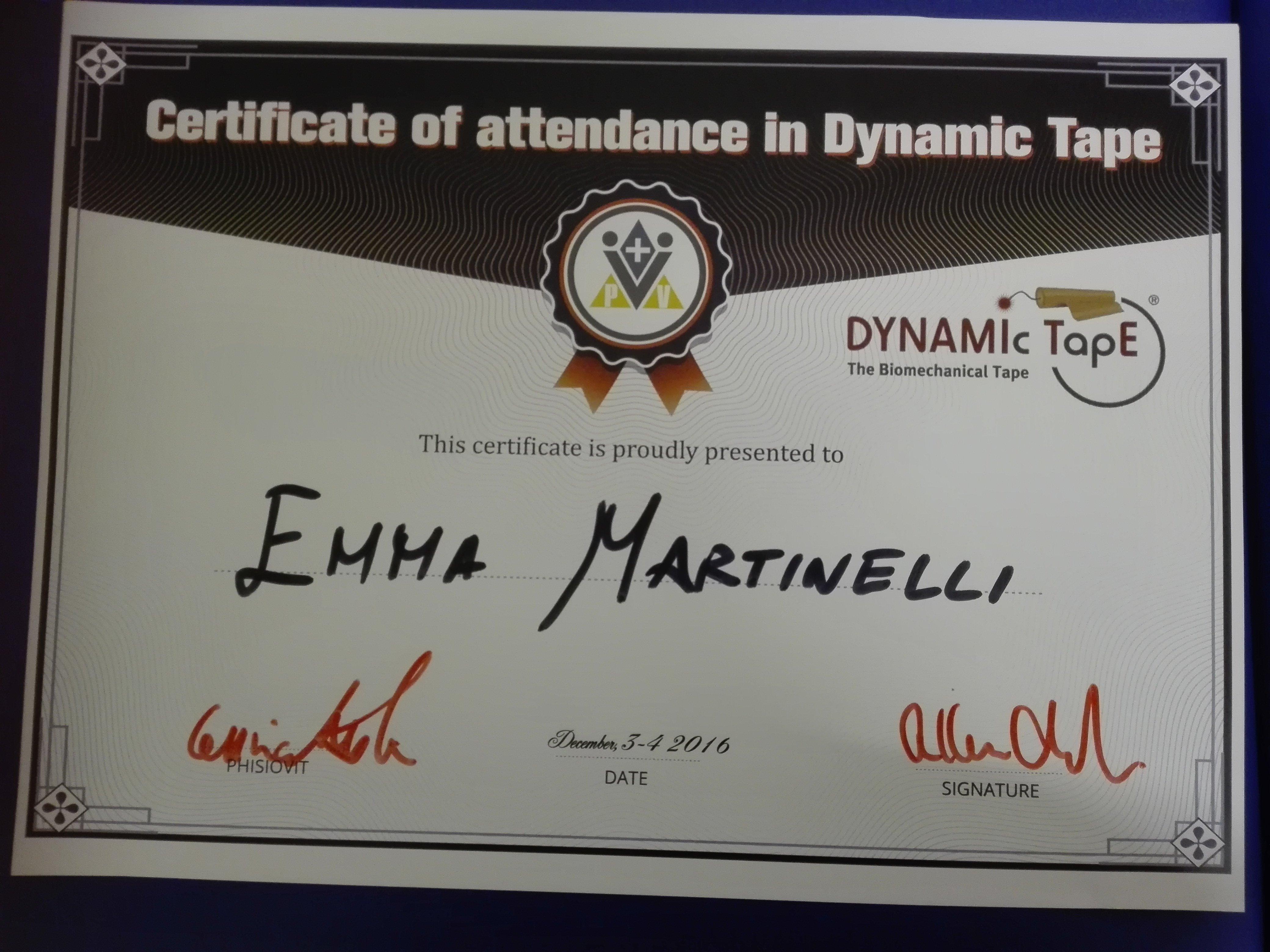 Certificato internazionale su Dynamic Tap di Emma Martinelli