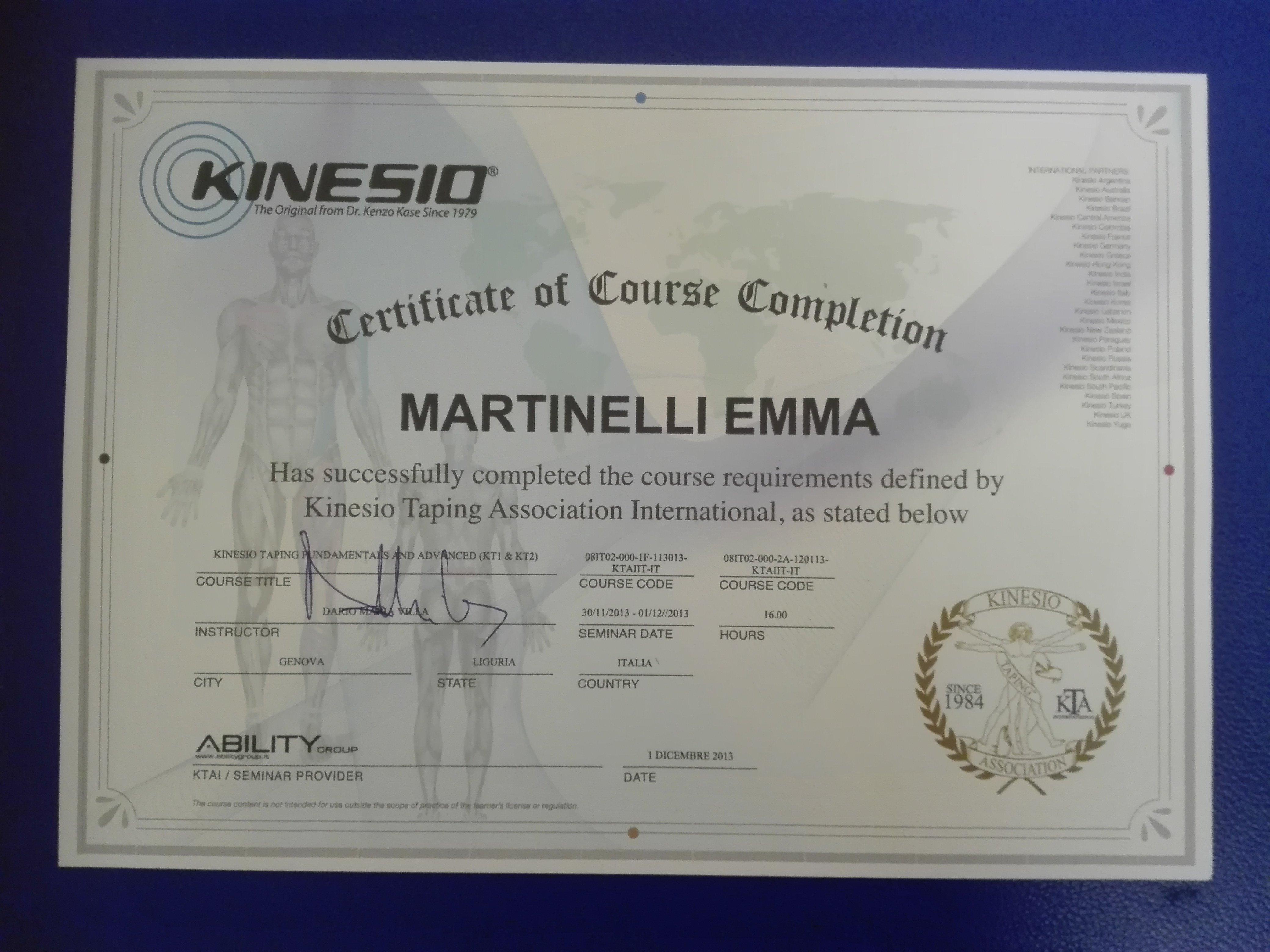 Certificato internazionale di Martinelli Emma