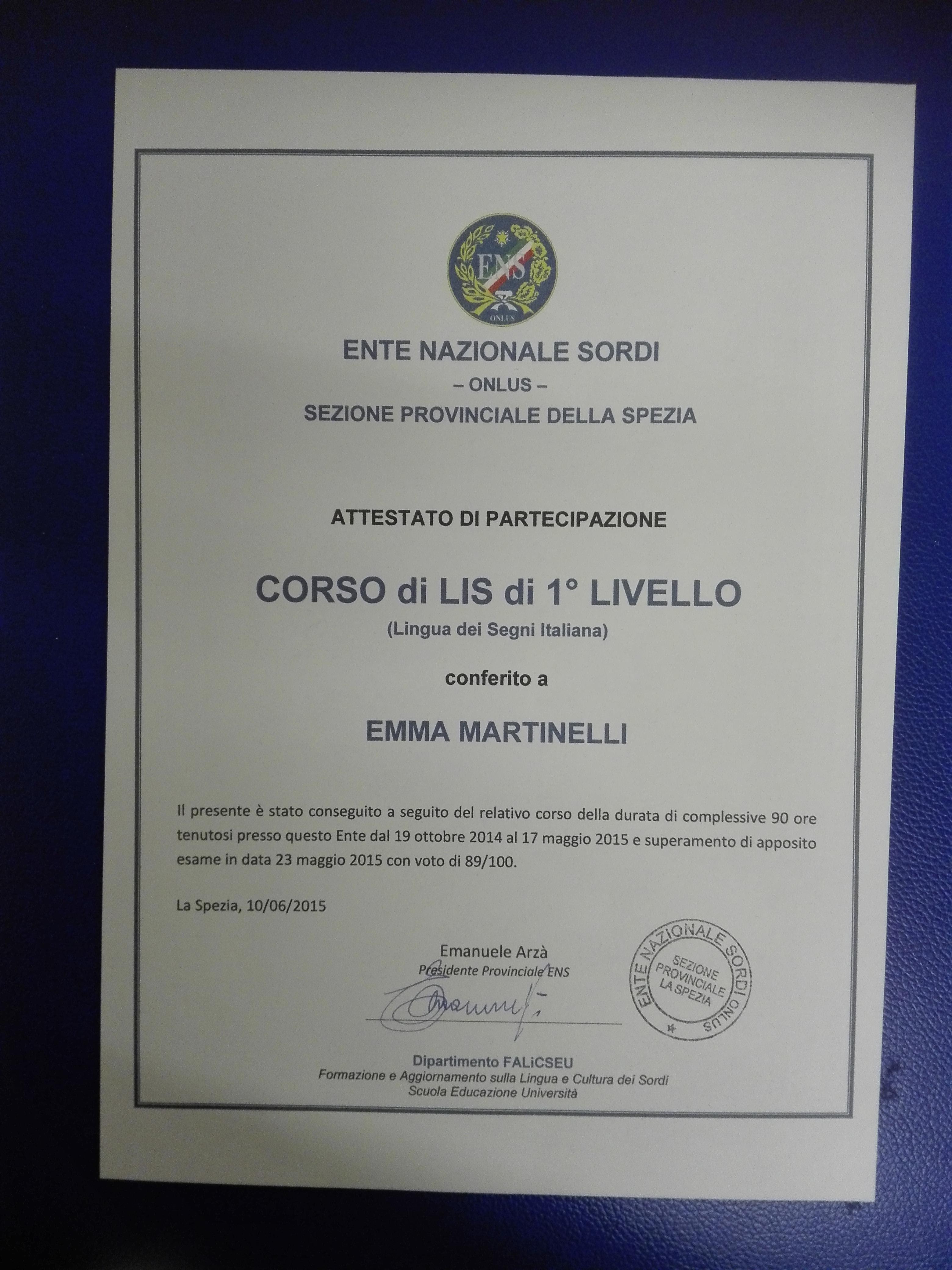 Certificato corso di LIS di Emma Martinelli