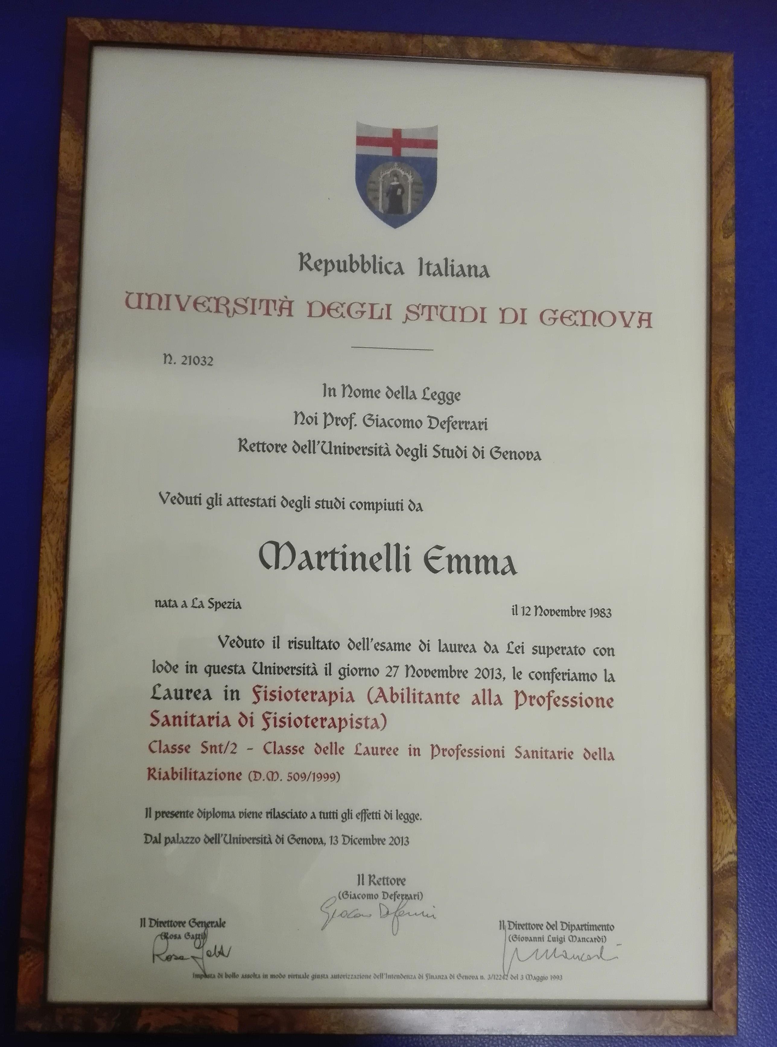 Certificato di laurea di Emma Martinelli