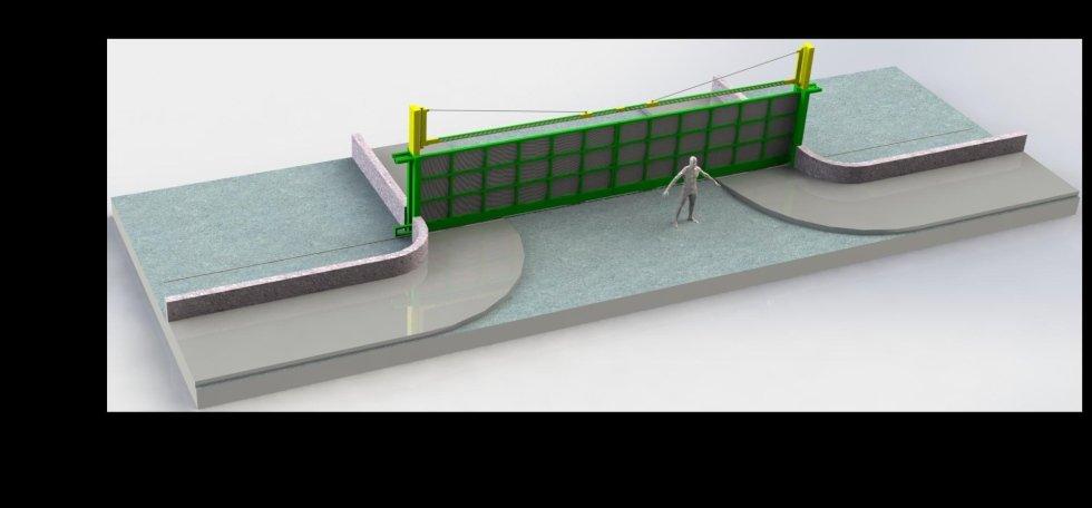 Cancello scorrevole con limitatore di altezza