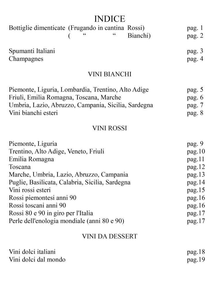 un indice di un libro dei vini