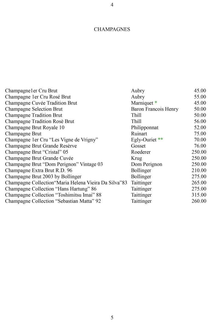 una lista di champagne in un libro
