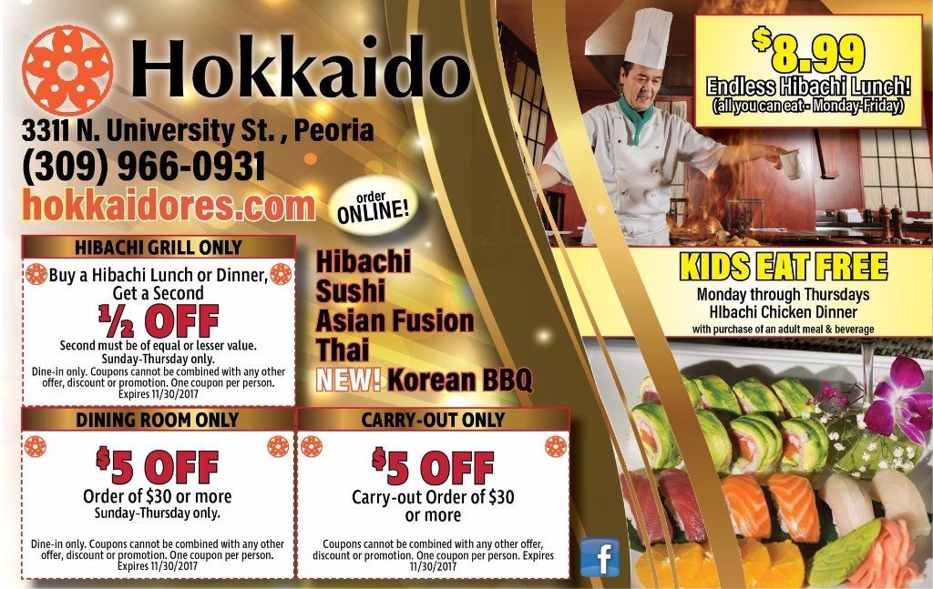 Hokkaido hibachi all you can eat buffet half off restaurant coupons Peoria, IL