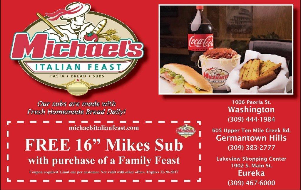 Michael's Italian Feast pasta bread subs coupon washington eureka germantown hills