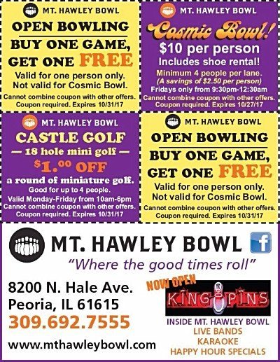 Mt Hawley Bowl cosmic bowling king pins bar castle golf coupons