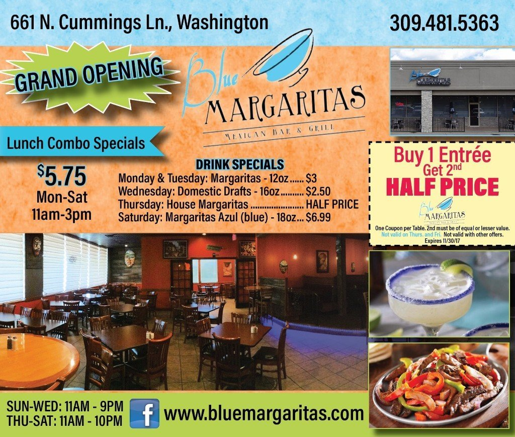 Blue Margaritas Mexican Bar and Grill coupons Washington, IL
