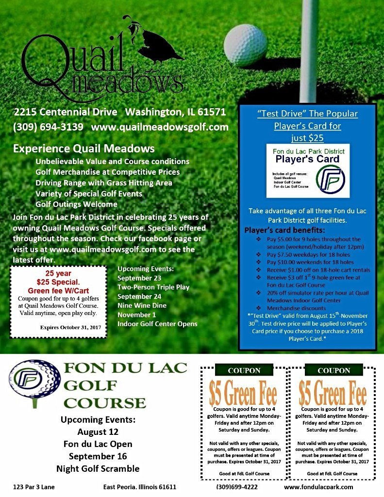 Quail Meadows Golf Fon Du Lac $5 green fee coupon