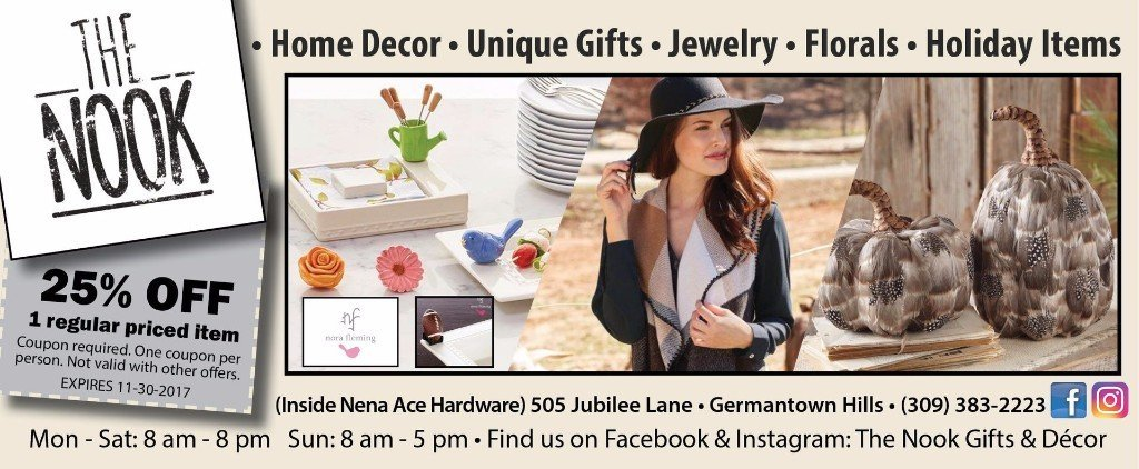 The Nook nena ace hardware home decor gifts jewerly florals coupon Germantown Hills