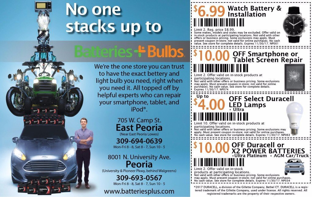 Batteries Plus Bulbs watch car battery smartphone repair led discount coupons East Peoria