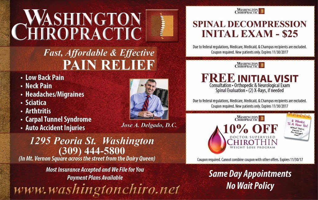 Washington Chiropractic chiropractor spinal decompression, free initial visit and weight loss coupons