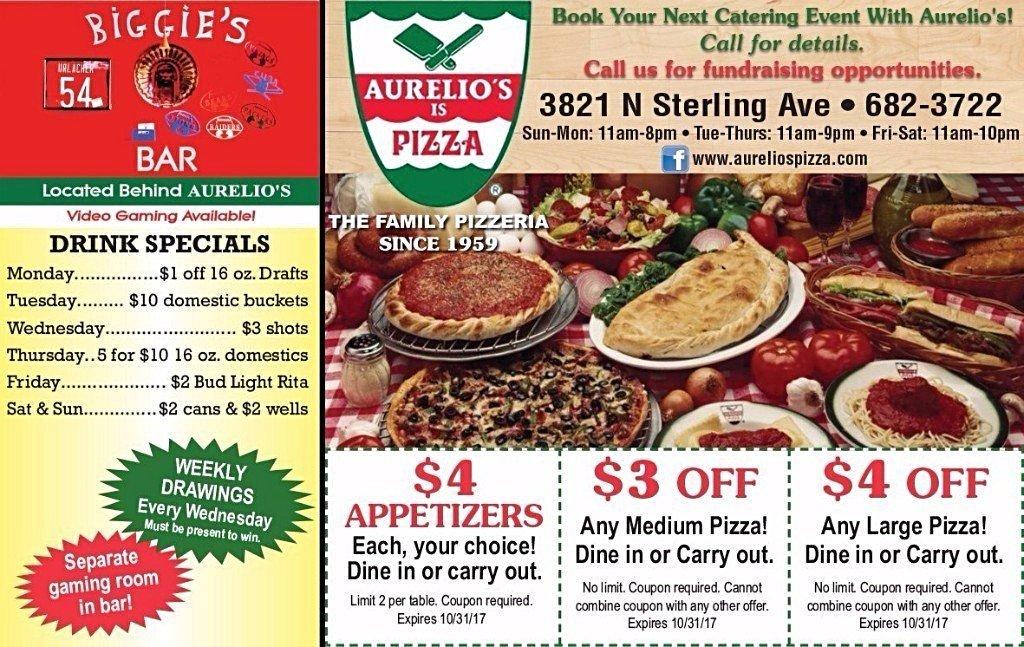 Aurelios Is Pizza coupons appetizers biggies bar
