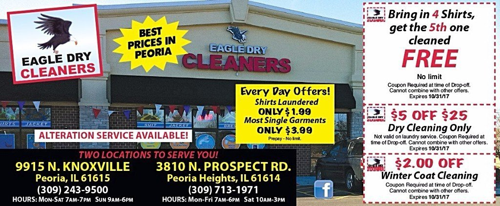 Eagle Dry Cleaners lowest price in town alterations laundry services coupons