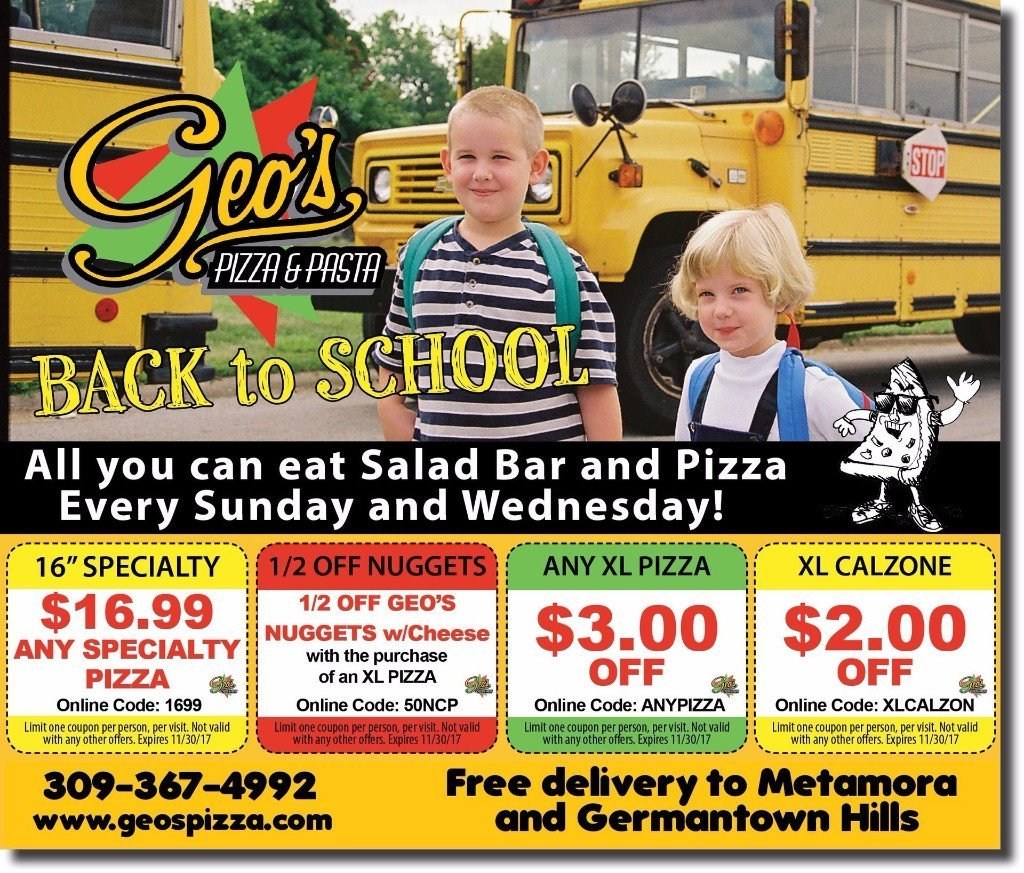 Geo's Pizza and Pasta discount offer coupons Metamora, IL
