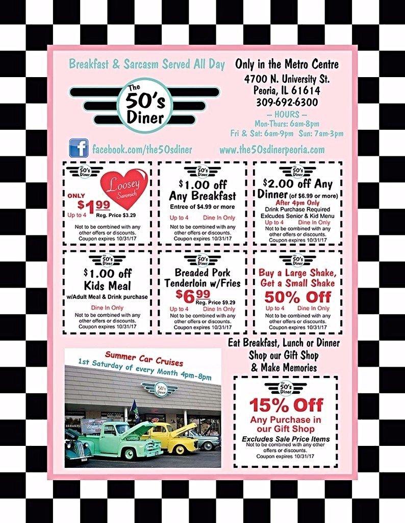 The 50's Diner restaurant breakfast lunch dinner coupons