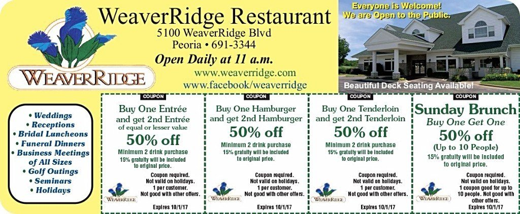 Weaverridge Restaurant coupons Sunday brunch 50% off