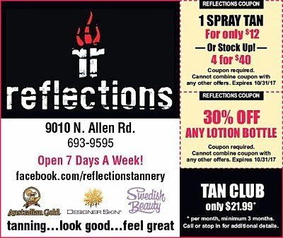 Reflections Tannery tanning spray tan salon Hair color eyebrow extensions coupons