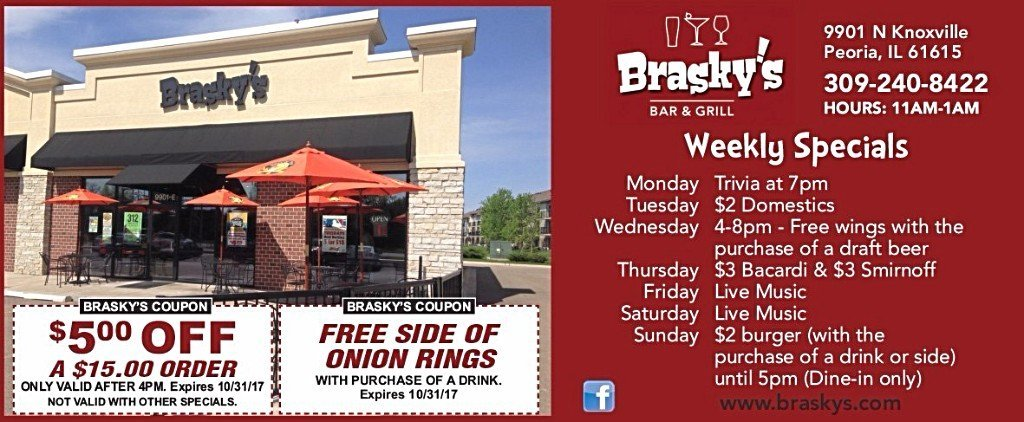 Brasky's Bar and Grill restaurant coupons