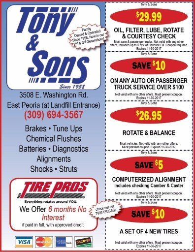 Tony and Sons auto service repairs alignments car repair maintenance oil change coupons
