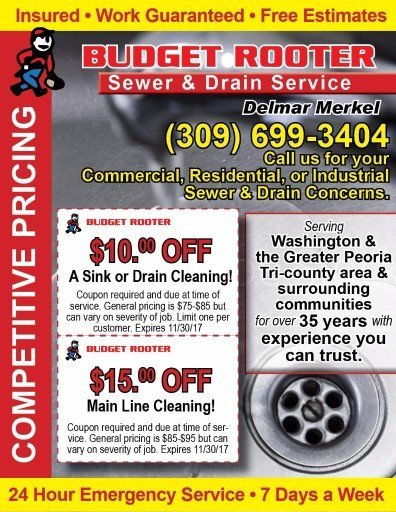 Budget Rooter Main Line, sink and Drain Service coupons