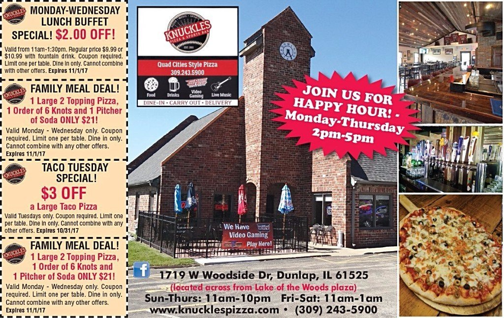 Knuckles Pizza quad cities style buffet restaurant coupons