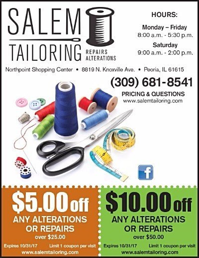 Salem Tailoring alterations repairs coupons