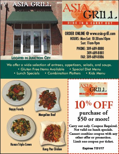 Asia Grill chinese food coupon