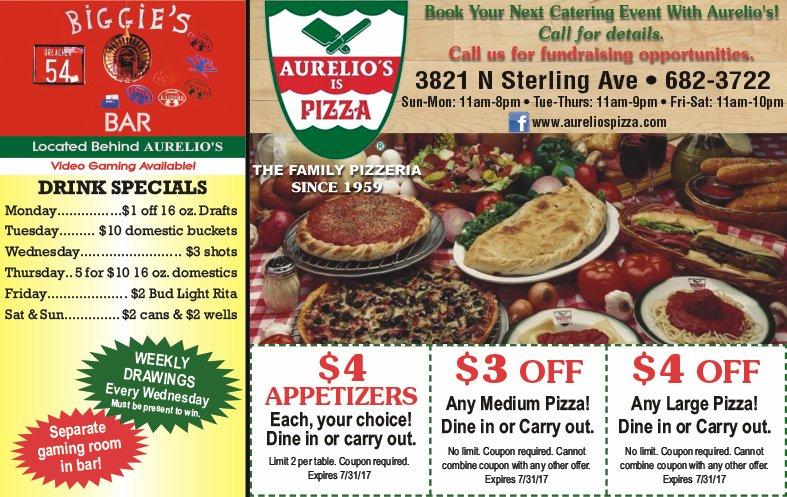 Aurelio's Is Pizza and Biggie's Bar coupons