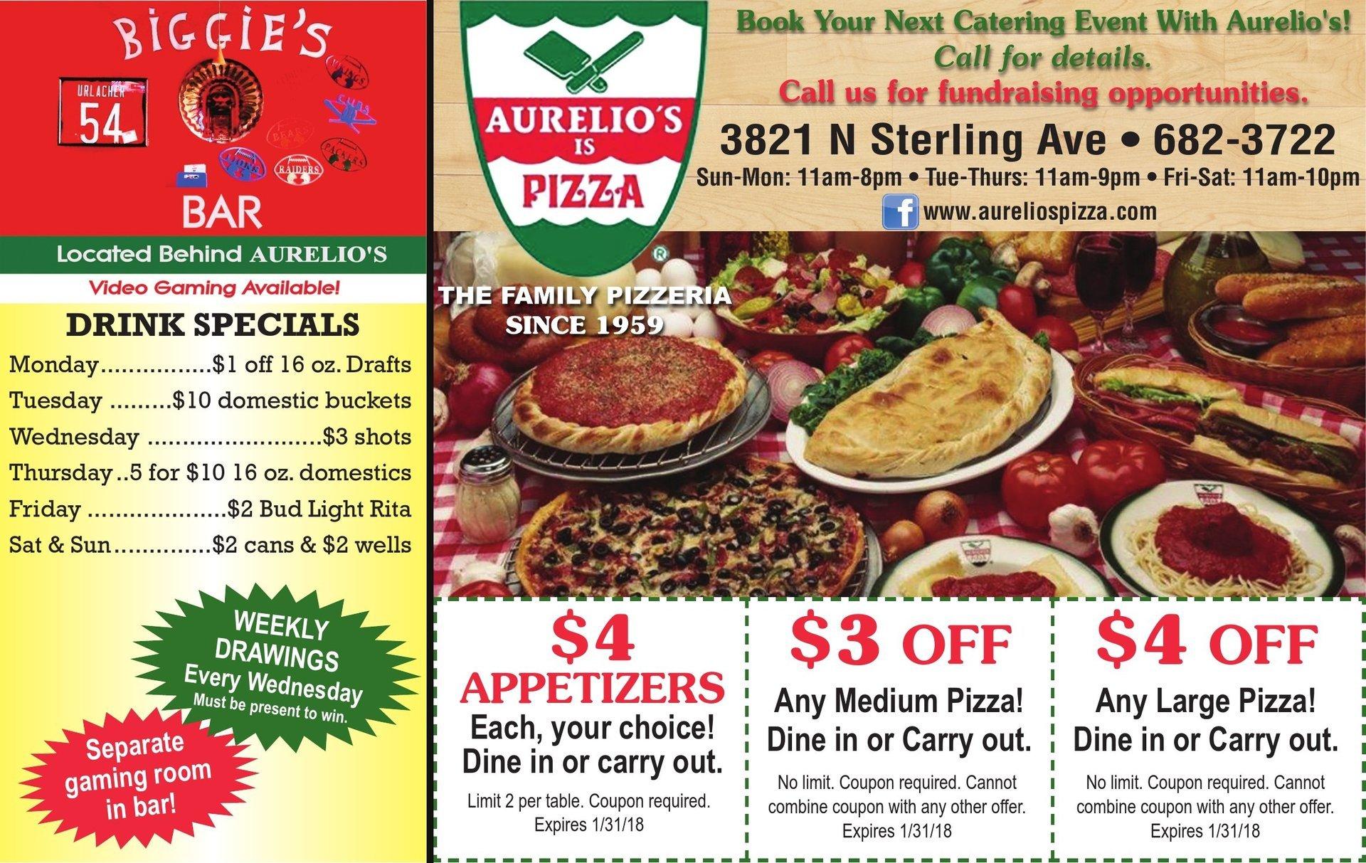 Aurelio's Is Pizza coupons and Biggie's Bar Peoria, IL