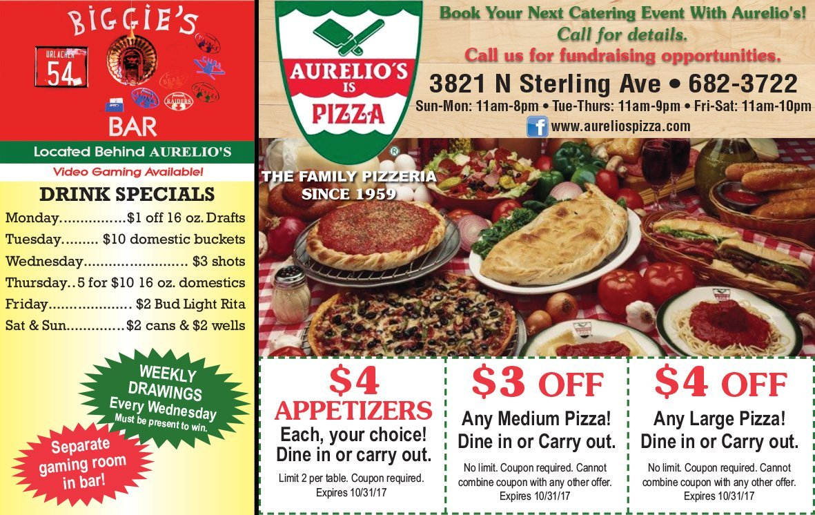 Aurelio's Is Pizza coupons and Biggie's Bar Peoria, IL