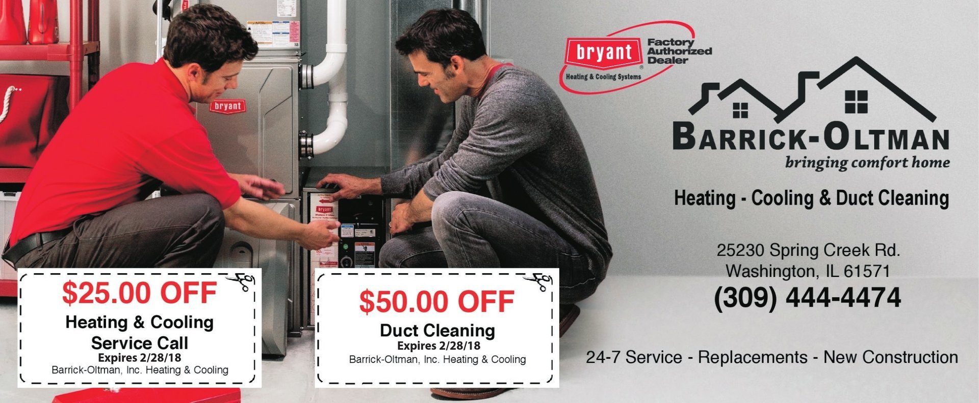 Barrick-Oltman Heating and Cooling Duct Cleaning coupons $25 and $50 off Washington, IL