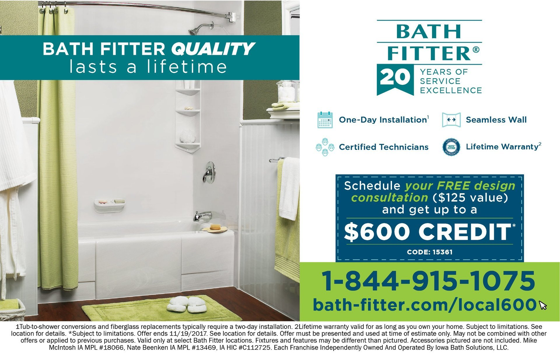 Bath Fitter one day installation, seamless wall, quality that lasts a lifetime 600 coupons Morton, IL