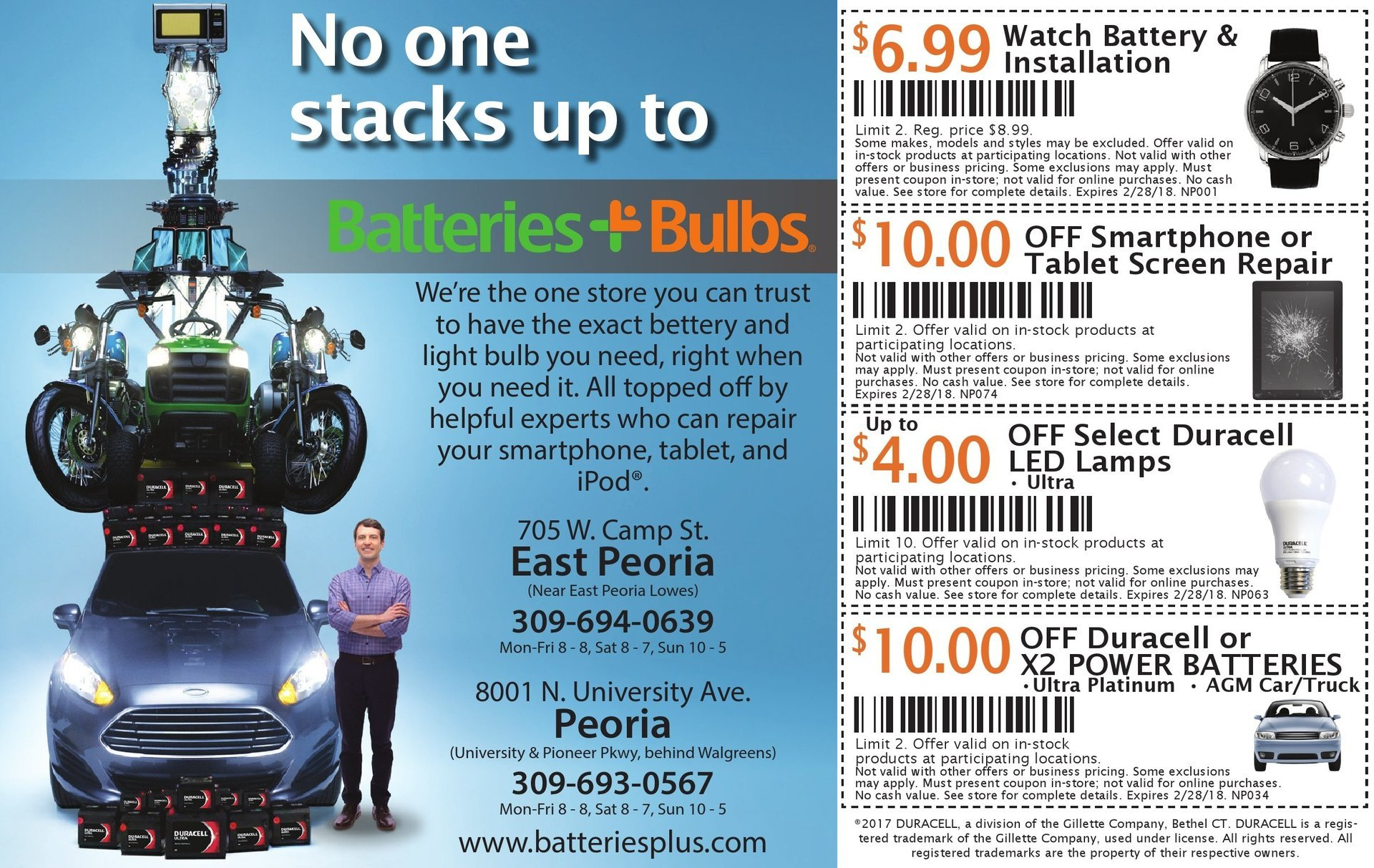 Batteries Plus Bulbs smartphone, tablet repair, led bulbs, car batteries coupons Peoria, East Peoria, IL