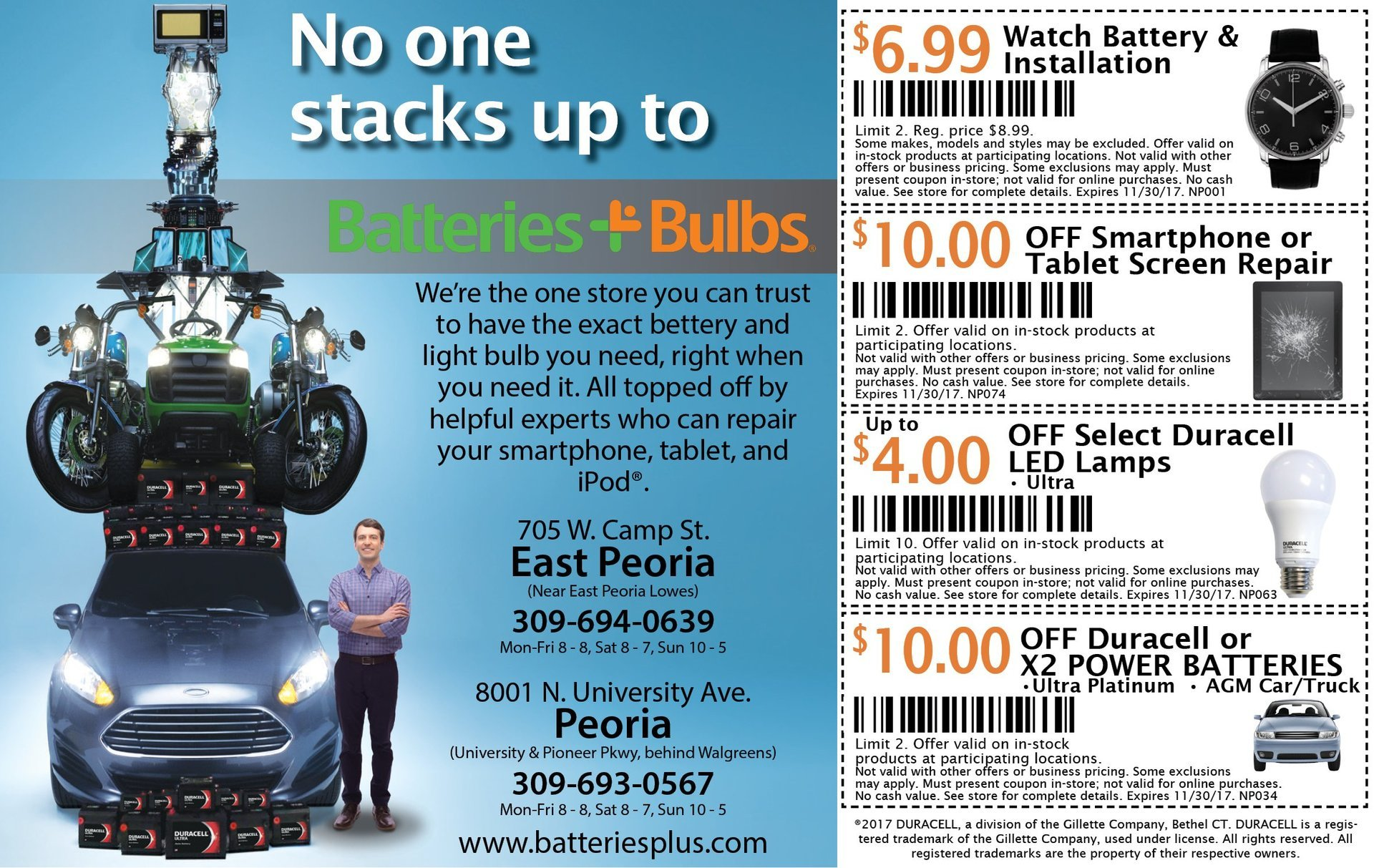 Batteries Plus Bulbs smartphone, tablet repair, led bulbs, car batteries coupons East Peoria, IL